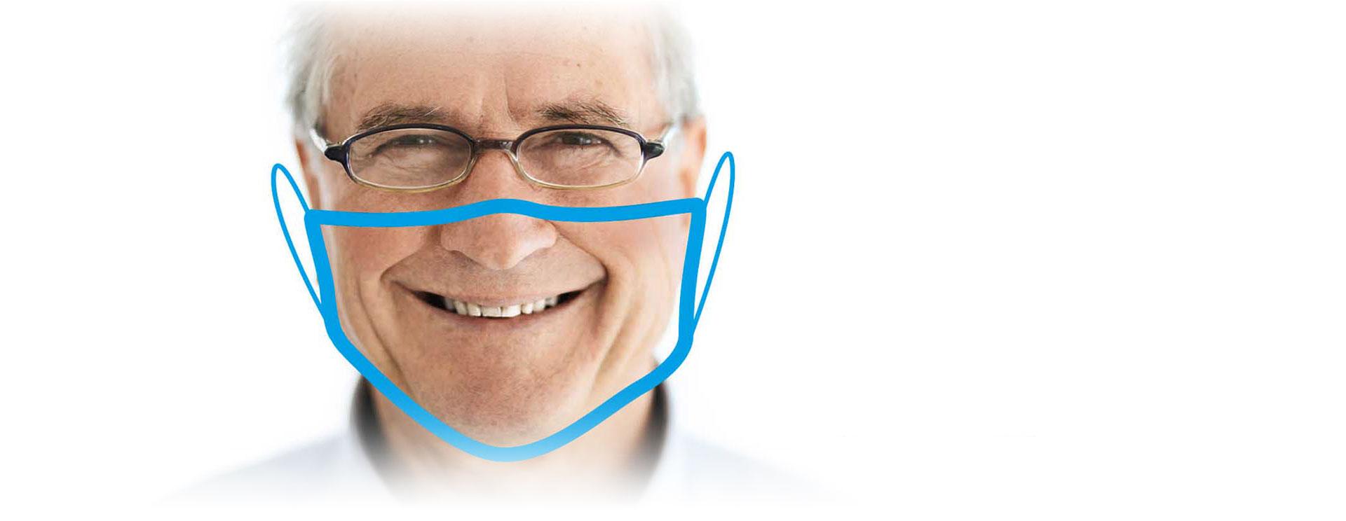 Sani-Klein - Lächeln mit Maske.